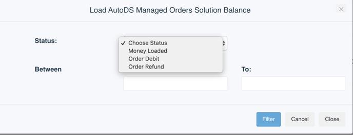 Managed Balance History filter